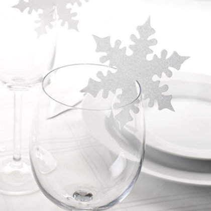 SHIMMERING WHITE SNOWFLAKE PLACE CARDS