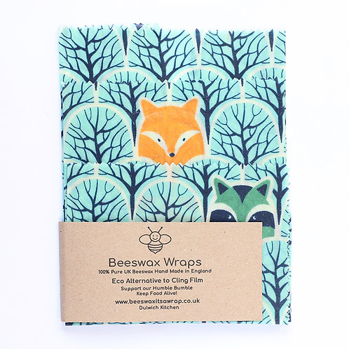 3 Mixed Sizes Beeswax Wraps - Forest