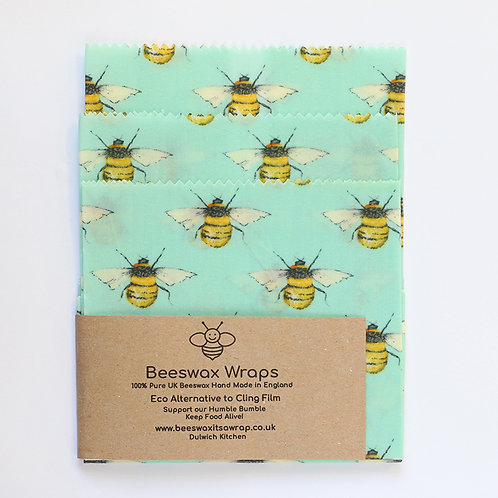 3 Mixed Sizes Beeswax Wraps - Blue Bees