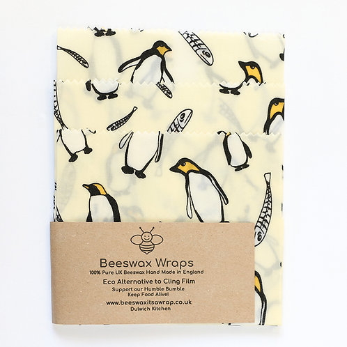 Set of 2 Beeswax Wraps - Penguin