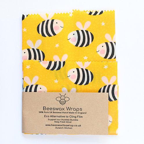 Set of 2 Beeswax Wraps - Bumble Bee