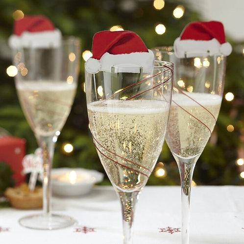 SANTA HAT CHRISTMAS GLASS DECORATIONS
