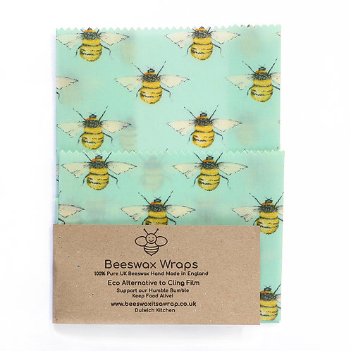 Set of 2 Beeswax Wraps - Blue Bees