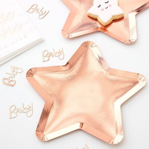 ROSE GOLD STAR SHAPED PAPER PLATES TW