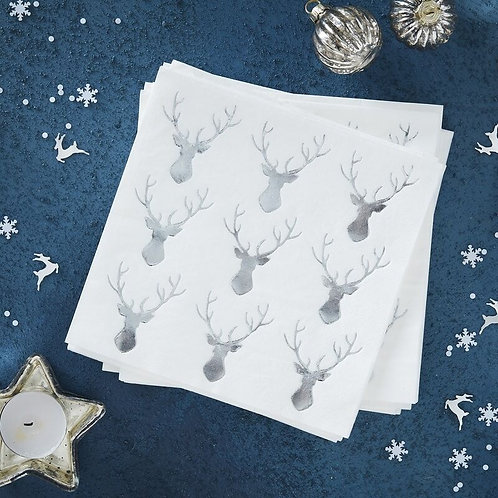 SILVER FOILED COCKTAIL STAG NAPKINS