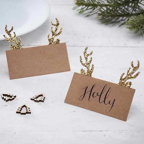 GOLD GLITTER KRAFT ANTLER CHRISTMAS PLACE CARDS