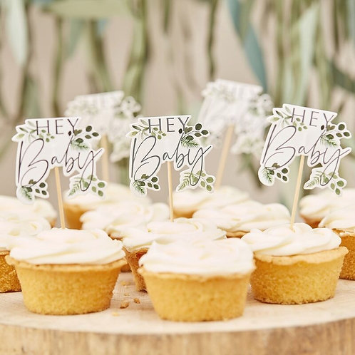 HEY BABY SHOWER CUPCAKE TOPPERS