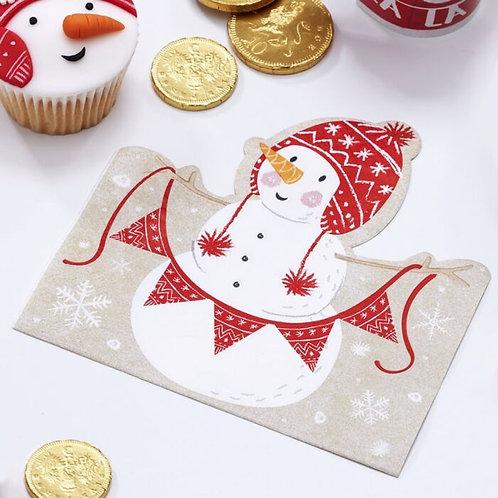 SHAPED CHRISTMAS SNOWMAN NAPKINS