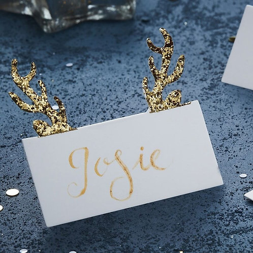 GOLD GLITTER ANTLER SHAPED CHRISTMAS PLACE CARDS