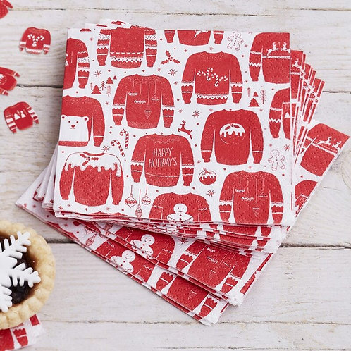 RED AND WHITE  FESTIVE JUMPER COCKTAIL NAPKINS