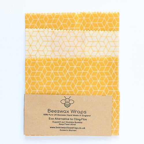 3 Mixed Sizes Beeswax Wraps - Honeycomb