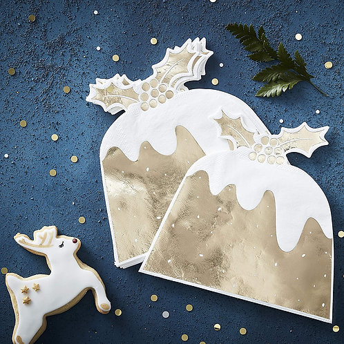 GOLD FOILED CHRISTMAS PUDDING PAPER NAPKIN