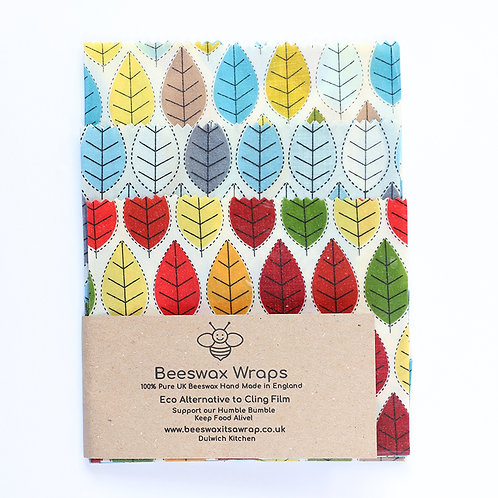 3 Mixed Sizes Beeswax Wraps - Leaf