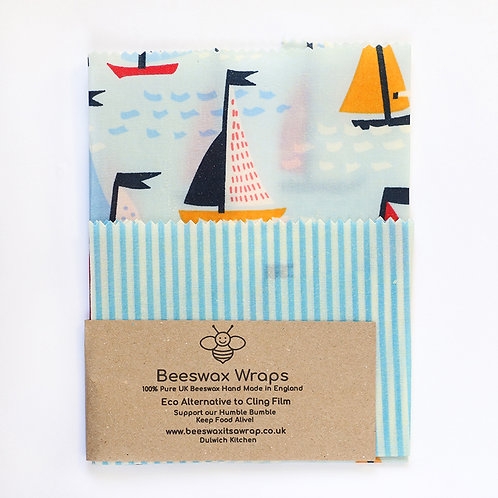 Set of 2 Beeswax Wraps - Boat & Blue Stripe
