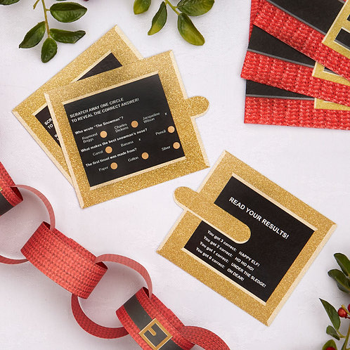 SANTA BELT SCRATCH TRIVIA CHRISTMAS GAMES