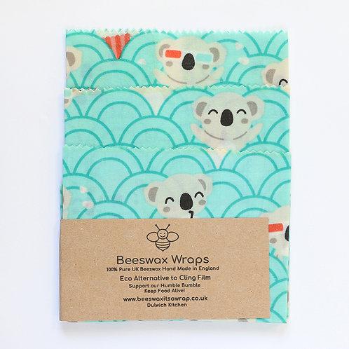3 Mixed Sizes Beeswax Wraps - Koala