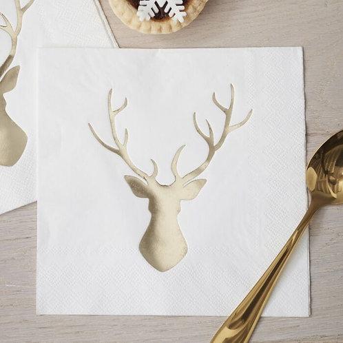 GOLD FOILED STAG CHRISTMAS NAPKINS