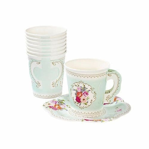 VINTAGE FLORAL TEA CUPS AND SAUCERS