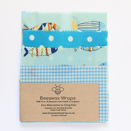 4 Mixed Sizes Beeswax Wraps - Fish