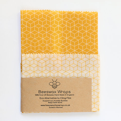 Set of 2 Beeswax Wraps- Honeycomb