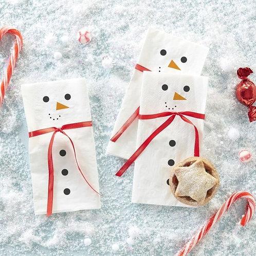 SNOWMAN SCARF PAPER CHRISTMAS NAPKINS