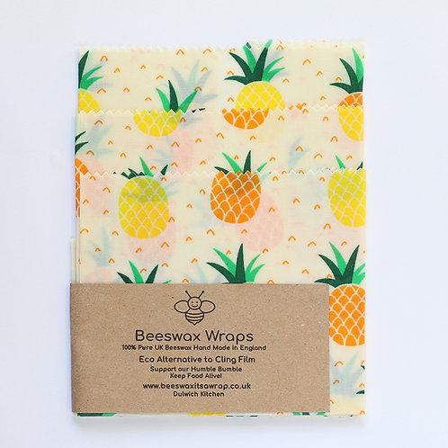 3 Mixed Sizes Beeswax Wraps - Pineapple