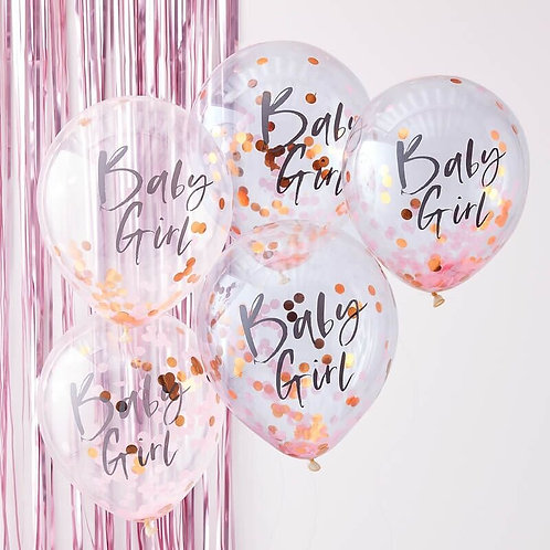BLUE BABY GIRL BABY SHOWER CONFETTI BALLOONS