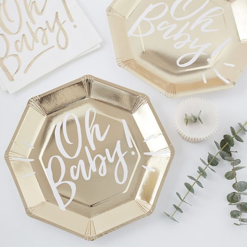 OH BABY! GOLD PAPER PLATES