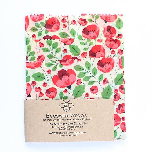 3 Mixed Sizes Beeswax Wraps - Poppy