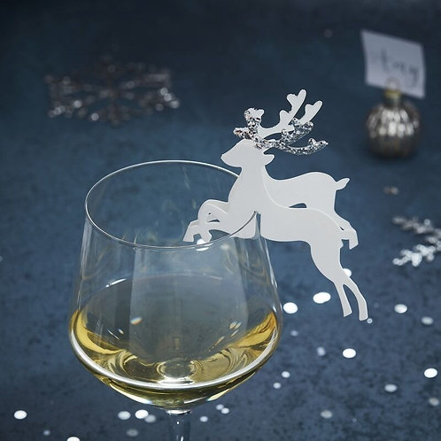 SILVER GLITTER REINDEER GLASS DECORATION