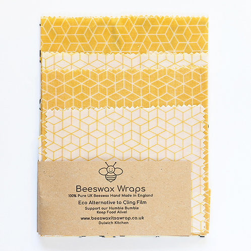 4 Mixed Sizes Beeswax Wraps -Honeycomb