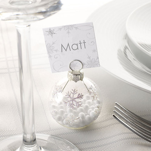SHIMMERING SNOWFLAKE BAUBLE PLACE CARD HOLDERS