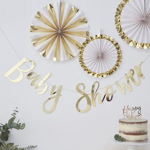 GOLD BABY SHOWER BUNTING