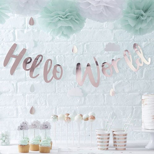 HELLO WORLD ROSE GOLD BABY SHOWER BUNTING