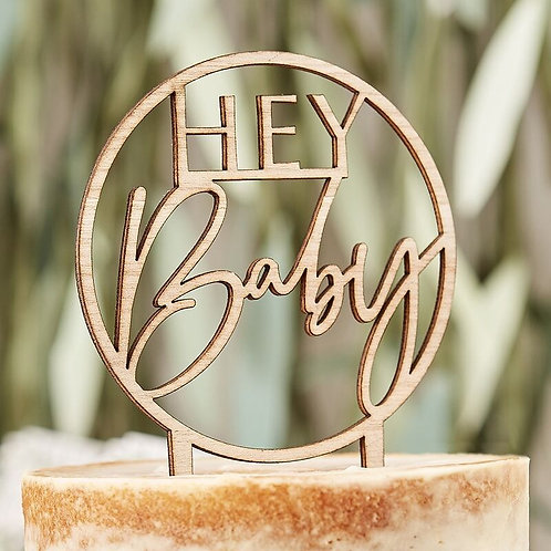 WOODEN HEY BABY SHOWER CAKE TOPPER