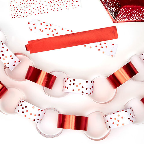 METALLIC RED DOTTY PAPER CHAINS