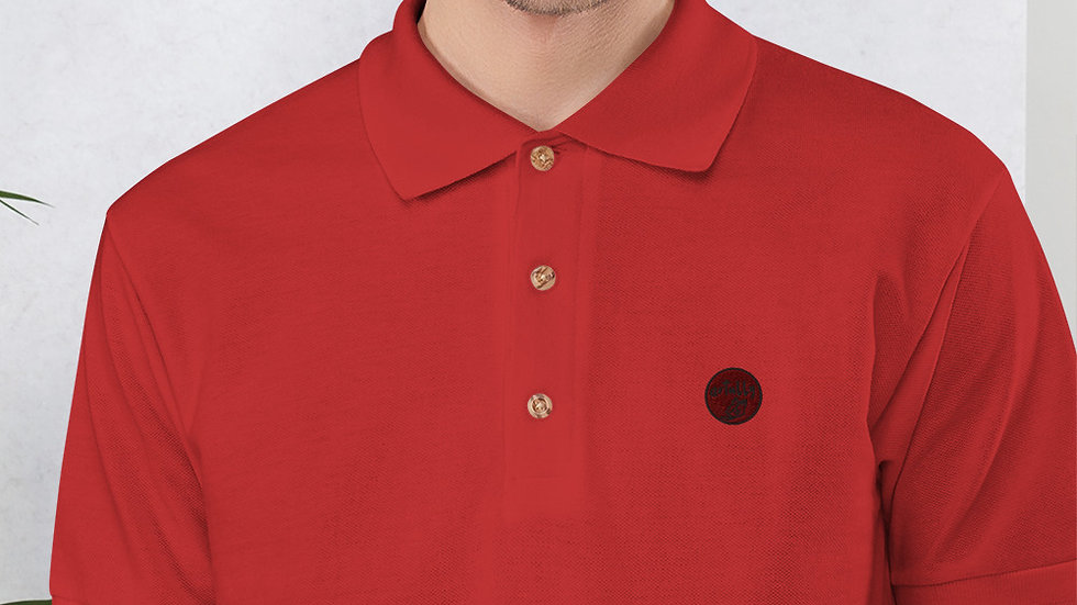 arTully - Men's Red Embroidered Polo Shirt