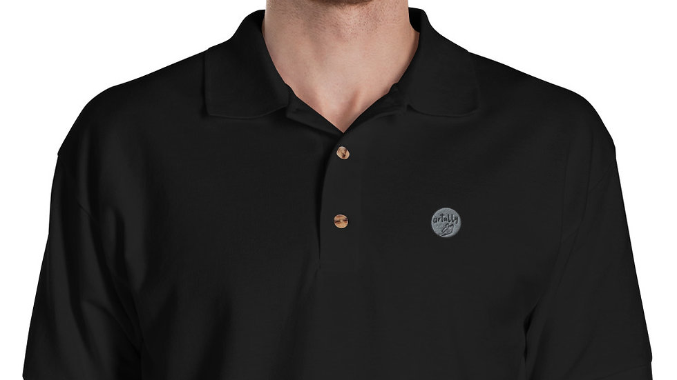 arTully - Men's Black Embroidered Polo Shirt