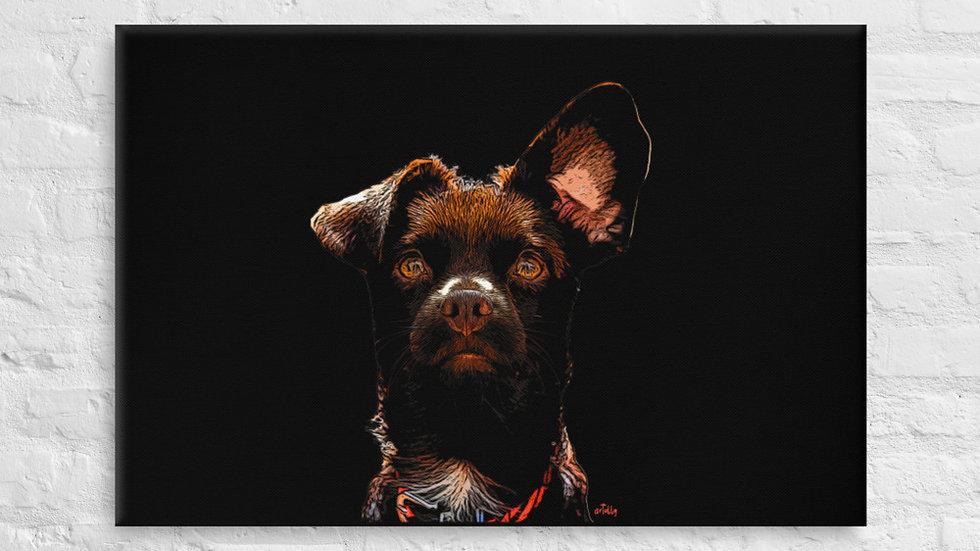 arTully - Rio the Rescue Dog Canvas 24x36ins