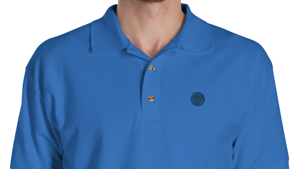 arTully - Men's Blue Embroidered Polo Shirt