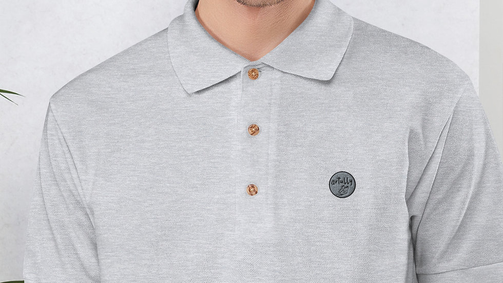 arTully - Men's Grey Embroidered Polo Shirt