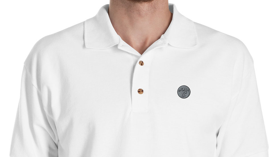 arTully - Men's White Embroidered Polo Shirt