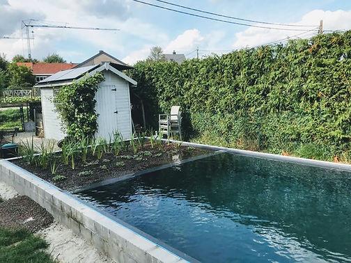 Tuinhuis met zonnepanelen en batterij voor autonome stroomvoorziening van een zwemvijver (semi off-grid).