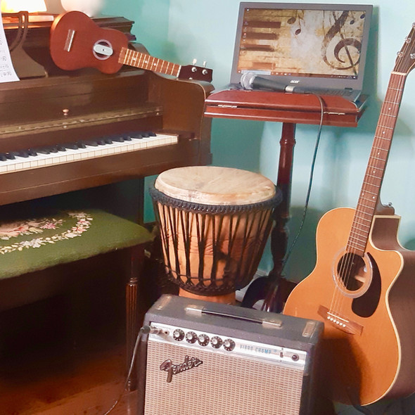 We have many instruments available to sing with.