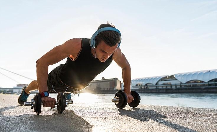 Men exercising