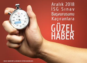 İş Güvenliği Uzmanlığı, İşyeri Hekimliği ve Diğer Sağlık Personeli adaylarına yönelik, ÖSYM tarafından düzenlenen 2018 İş Sağlığı ve Güvenliği Genel Müdürlüğü İş Yeri Hekimliği ve İş Güvenliği Uzmanlığı Sınavı için 20 Ekim 2018 tarihi saat 23:59'a kadar Genel Müdürlüğe başvurarak uygun olarak değerlendirilen, ancak 31 Ekim – 7 Kasım 2018 tarihleri arasında ÖSYM'ye başvurularını yapamayan adaylar için bir kez daha başvuru fırsatı doğdu.