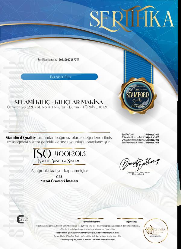 Kılıç Makina ISO 9001 Belgesi TR.png