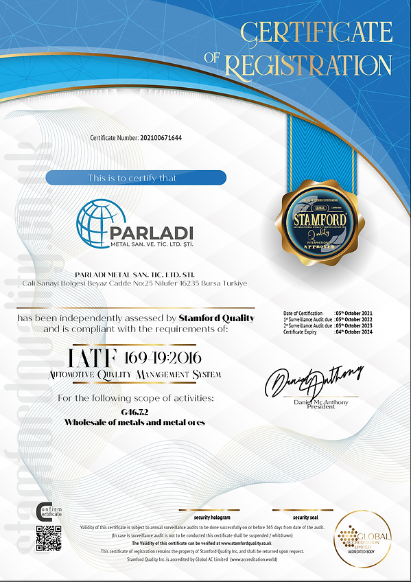 parladi metal IATF 16949 certificate