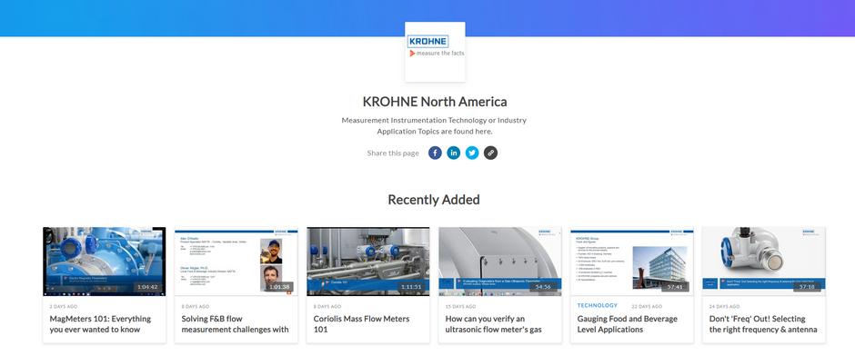 New KROHNE Webinar Platform