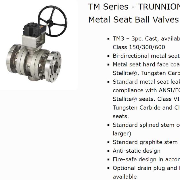TM Series Metal Seat Trunnion Ball Valves